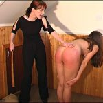 Rosaleen Young thrashed with a cane on her bare bottom by two strict women